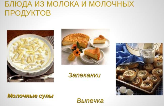 Блюда на основе молочных изделий