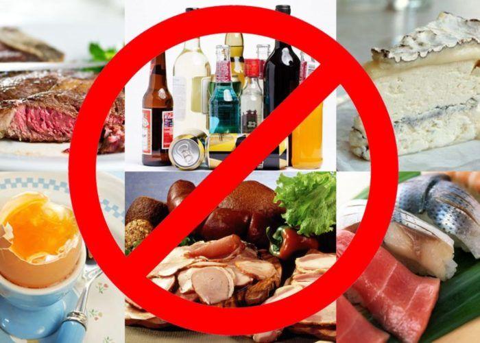 Любые пищевые продукты противопоказаны